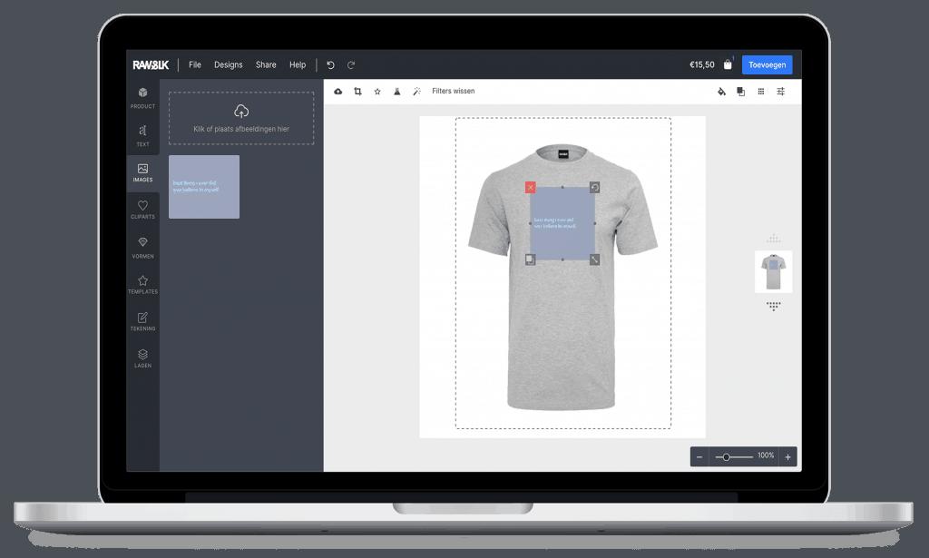 Online ontwerper tool in RAW&SILK - Kleding bedrukken