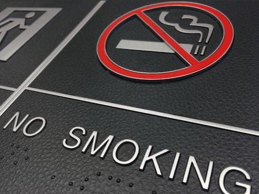 Niet roken bordje inclusief Braille